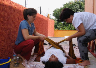 Traditional Mexican 'Closing the Bones' treatment.  I can provide this treatment alone or enlist the help of your partner (or other support person) so they can learn to tend to you in this way.